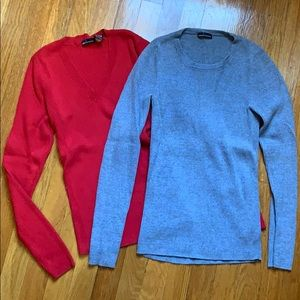 2 for 1 ribbed sweaters, red and heather blue